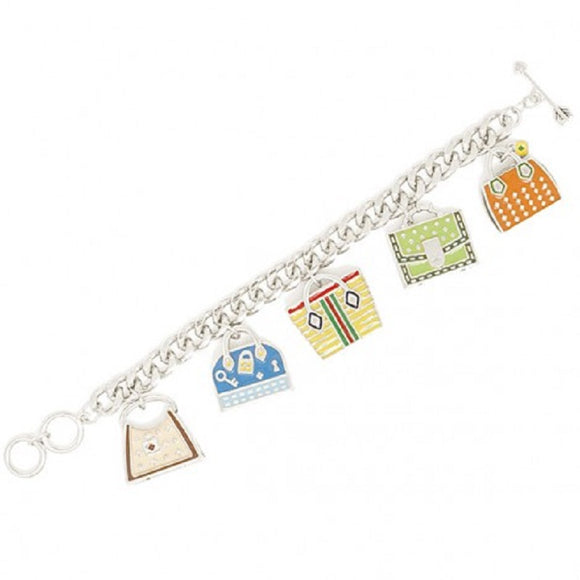 SILVER Charm Bracelet with Dangling Bags and Purses ( 00170 )