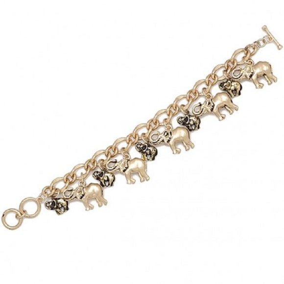 GOLD ELEPHANT CHARM BRACELET TOGGLE ( 00175 )