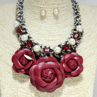 RED NECKLACE SET FABRIC FLOWER ( 7014 )