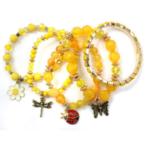 5 GOLD YELLOW STRETCH BRACELETS LADYBUG BUTTERFLY ( 5182 )