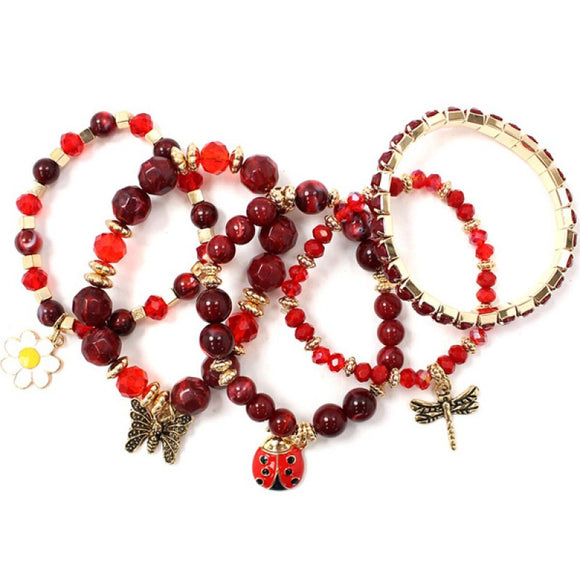 5 GOLD RED WINE STRETCH BRACELETS LADYBUG BUTTERFLY ( 5182 )
