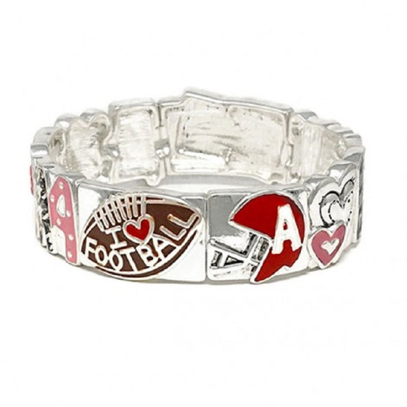SILVER STRETCH BRACELET WITH HOUNDSTOOTH FOOTBALL DESIGN ( 00266 )