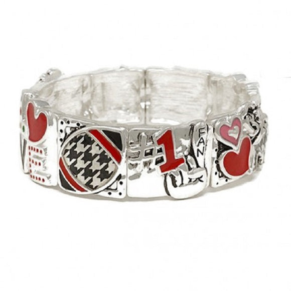 SILVER STRETCH BRACELET WITH HOUNDSTOOTH FOOTBALL DESIGN ( 00267 )