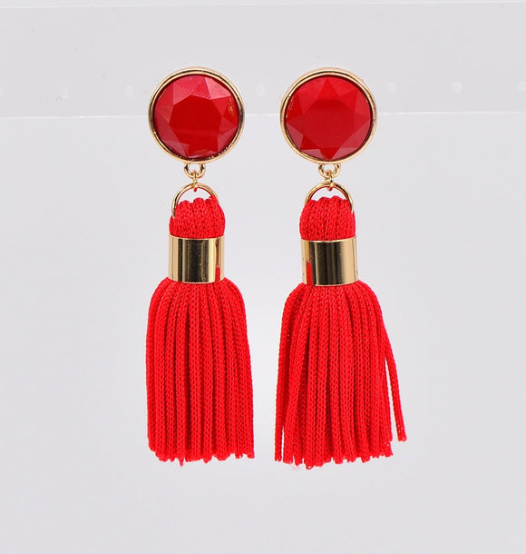 GOLD RED COLOR STONE TASSEL EARRINGS ( 2335 GLRED )
