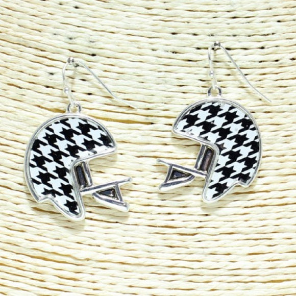 FOOTBALL HELMET HOUNDSTOOTH EARRINGS ( 3308 )