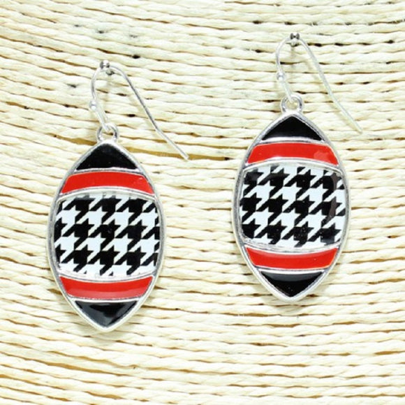 SILVER FOOTBALL HOUNDSTOOTH EARRINGS ( 3307 )