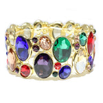 GOLD STRETCH BRACELET WITH MULTI COLOR STONES ( 1130 )