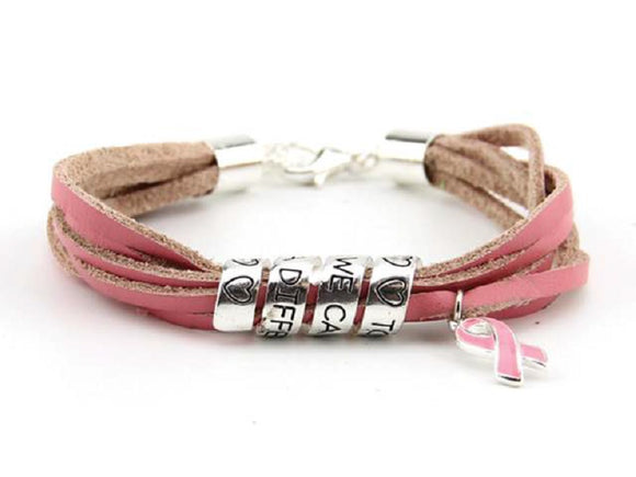 LEATHER PINK RIBBON BRACELET SWIRL MESSAGE DANGLING CHARM ( 8439 )