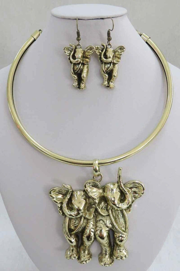 ANTIQUE GOLD CHOKER SET ELEPHANT ( 3937 AG )