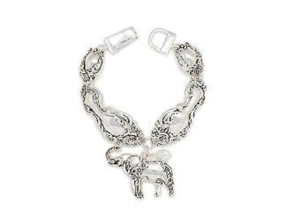 SILVER ELEPHANT BRACELET WHITE PEARL ( 00199 AS )