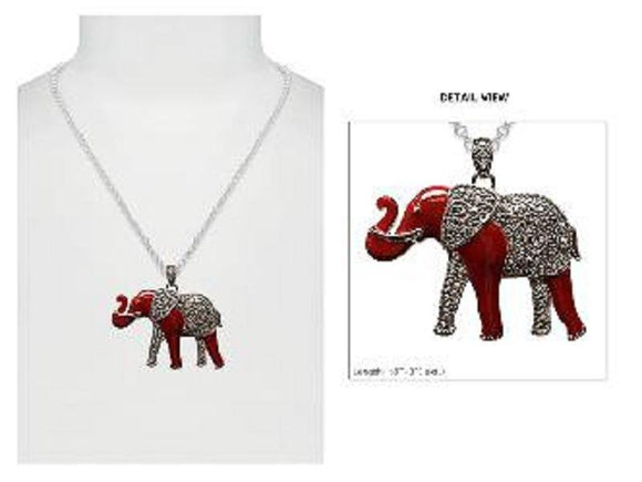 SILVER NECKLACE MARCASITE RED ELEPHANT PENDANT ( 2493 ASMX )