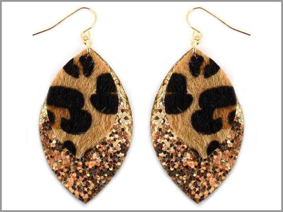 LEOPARD PRINT GOLD SEQUIN EARRINGS ( 2223 ) - Ohmyjewelry.com