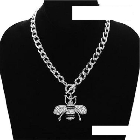 SILVER BLACK ENAMEL CLEAR RHINESTONE BEE TOGGLE NECKLACE ( 3438 ) - Ohmyjewelry.com