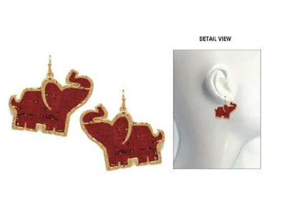 GOLD AND RED CORK ELEPHANT EARRINGS ( 3444 )