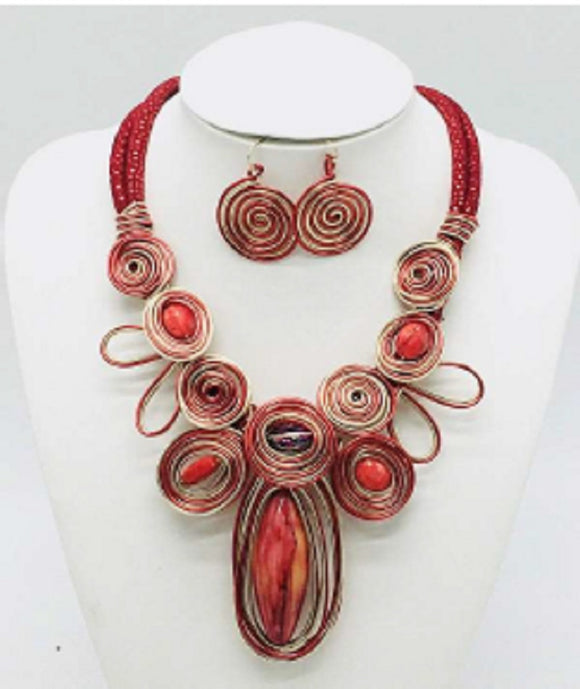 RED GOLD LEATHER NECKLACE SET SWIRL COIL ( 10025 )