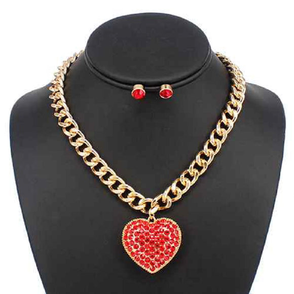 GOLD RED NECKLACE SET HEART PENDANT ( 5176 GDLSM )