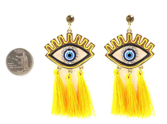 GOLD EVIL EYE YELLOW COLOR TASSEL EARRINGS ( 4323 )