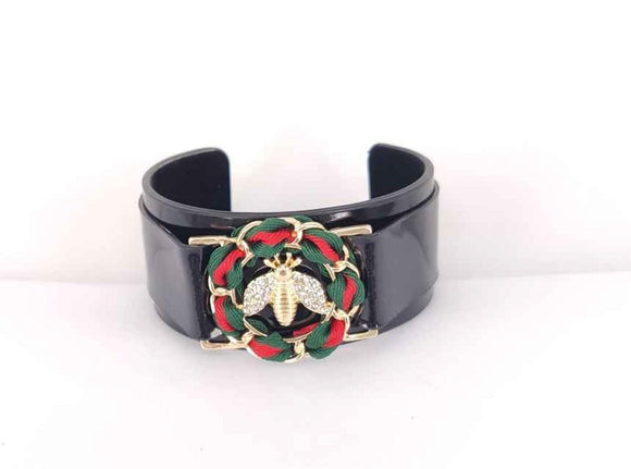 BLACK CUFF BANGLE GREEN RED BEE CLEAR STONES ( 2105 GDBK )