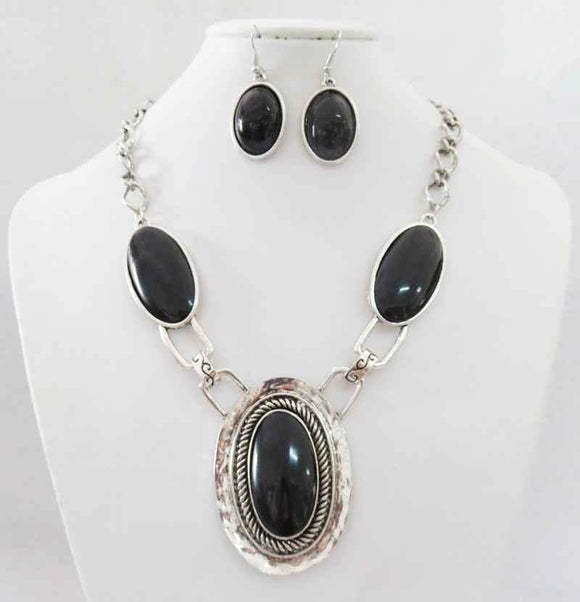 SILVER NECKLACE SET BLACK STONES ( 3195 )