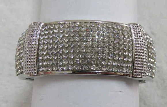 SILVER BANGLE CLEAR STONES SECTIONAL ( 728 S )