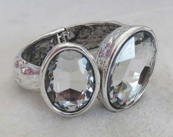 LARGE SILVER BANGLE WITH CLEAR STONES ( 700 )