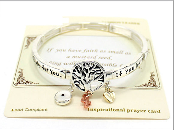 Tree of Life Mustard Seed Inspirational Stretch Bracelet MULTICOLOR CHARMS ( 04509 )