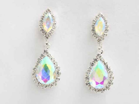 SILVER DANGLING EARRINGS CLEAR AB STONES ( 6266 CLAB )