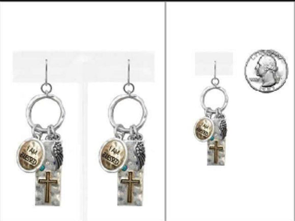SILVER GOLD I AM BLESSED CROSS CHARMS ( 2628 TTMUL ) - Ohmyjewelry.com