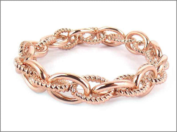 ROSE GOLD CHAIN LINK STRETCH BRACELET ( 3687 RG )