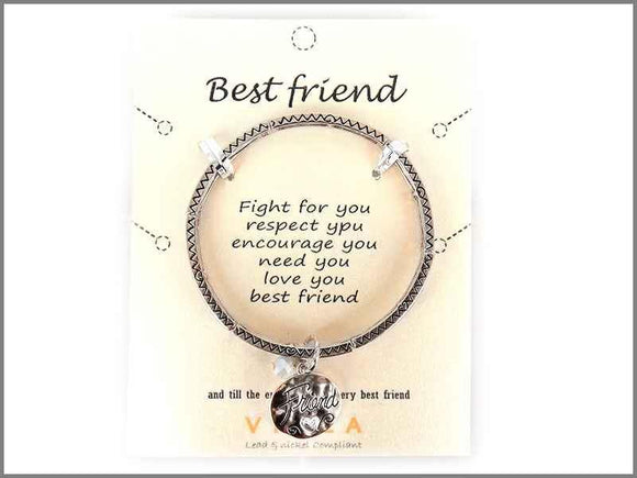 SILVER STRETCH BRACELET BEST FRIEND CHARM ( 4968 AS )