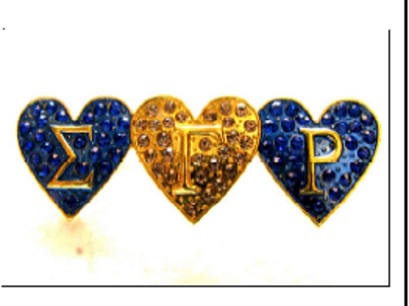 GOLD BLUE SIGMA GAMMA RHO HEART BROOCH ( 2719 )