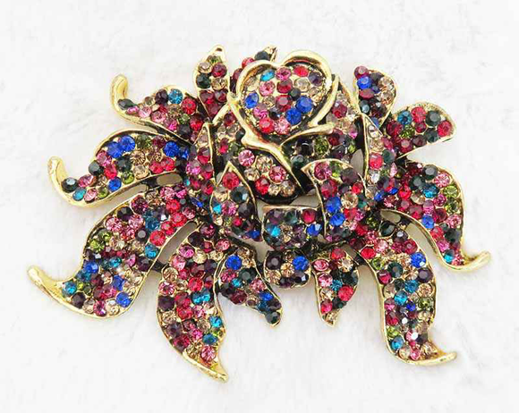 ANTIQUE GOLD ROSE BROOCH MULTI COLOR STONES ( 2973 )