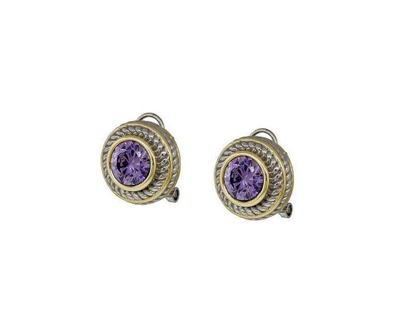 SILVER GOLD FRENCH CLIP ON PURPLE EARRINGS CZ CUBIC ZIRCONIA STONE ( 7716 PU )