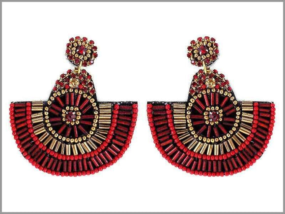 DANGLING RED GOLD BEAD EARRINGS ( 2674 )