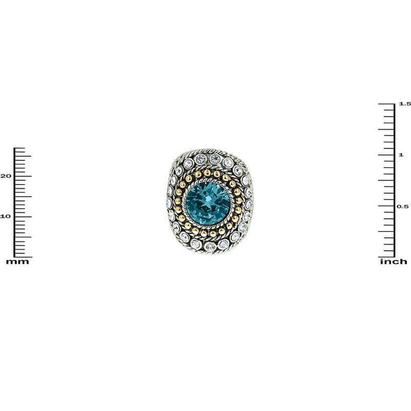 TWO TONED RING WITH AQUA RHINESTONES SIZE 7 ( 3198 )