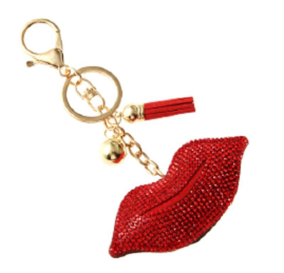 GOLD RED LIPS KEYCHAIN ( 31053 )