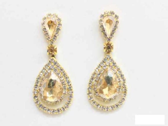 GOLD EARRINGS CLEAR TOPAZ STONES ( 6480 SSA )