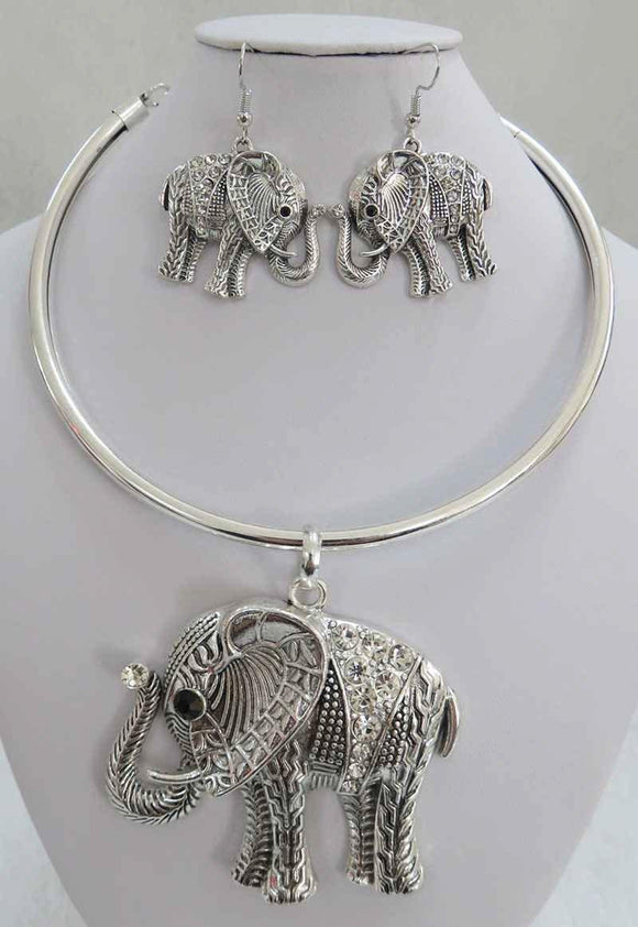 SILVER ELEPHANT CHOKER NECKLACE SET CLEAR STONES ( 3934 AS )