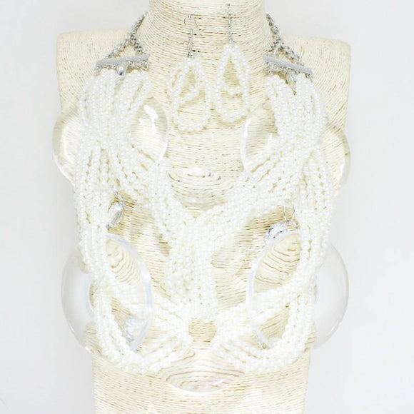 Acrylic and WHITE Pearl Beaded Braided Statement Oversize Necklace Set ( 2141 )