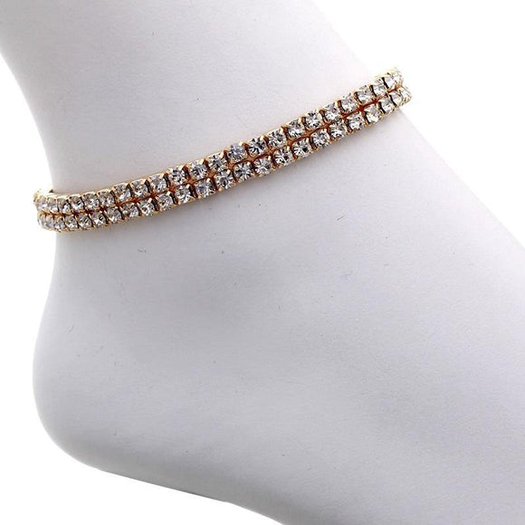 2 Line Gold Clear Rhinestone Stretch Anklet ( 80872 )