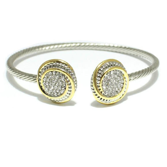 SILVER GOLD CUFF BRACELET CLEAR STONES ( 923 )