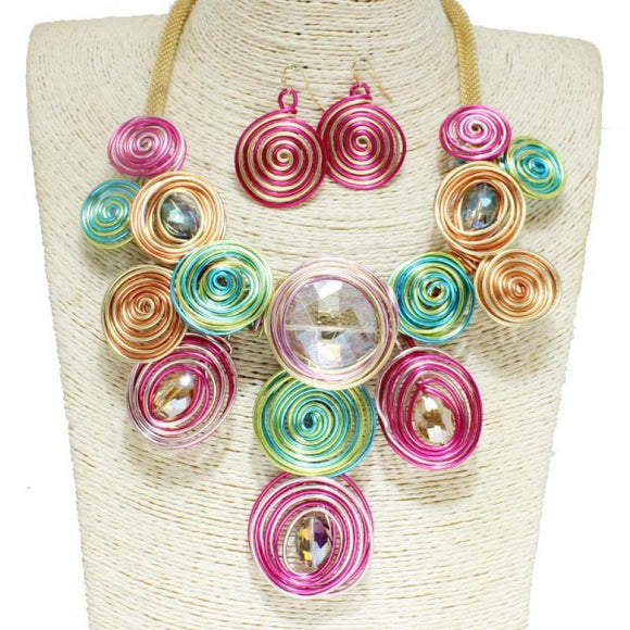 GOLD MULTI COLOR COIL METAL WIRE NECKLACE SET ( 10041 )