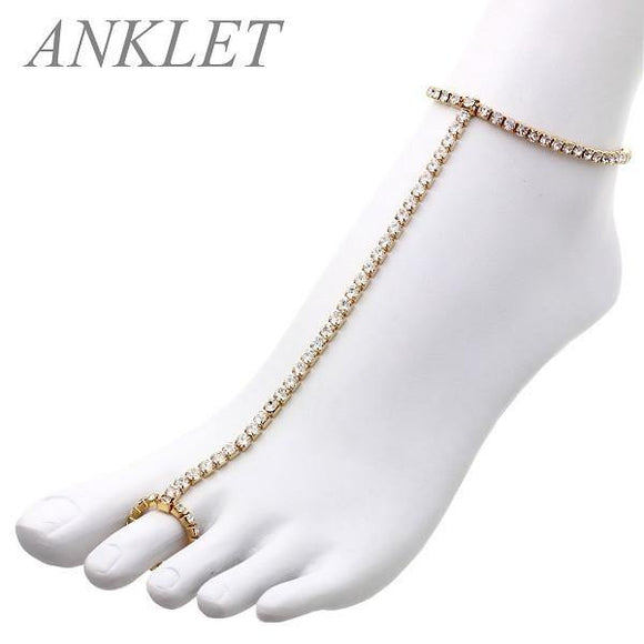 1 Line Rhinestone Gold Clear Stretch Anklet Chain