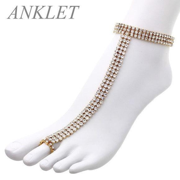 3 Line Rhinestone Gold Clear Stretch Anklet Chain
