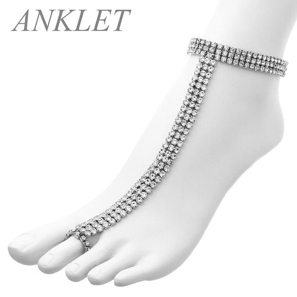 3 Line Rhinestone Silver Clear Stretch Anklet Chain ( 82552 )