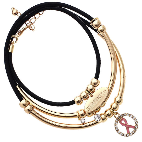 Wrap Around Leather and Gold Beaded Pink Ribbon Breast Cancer Awareness Charm Bracelet ( 82669 )