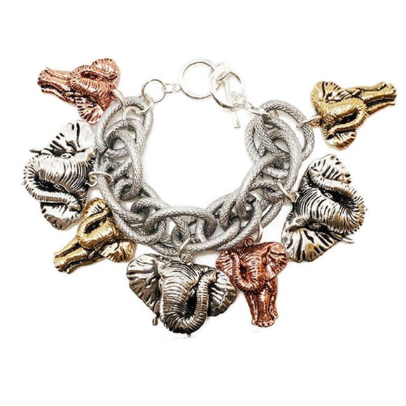 SILVER CHUNKY BRACELET MULTI COLOR ELEPHANTS ( 00488 )