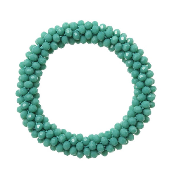 4mm Turquoise Color Beaded Rope Style Stretch Bracelet ( 82973 )