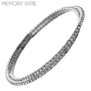 Silver Two Row Twisted Memory Wire Cuff Bracelet ( 83002 )