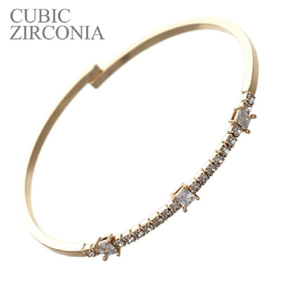 GOLD CUFF BANGLE WITH CLEAR CZ STONES FLEX ( 83023 )